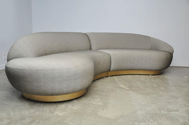Milo Baughman Sectional Sofa on Brushed Bronze Base 2