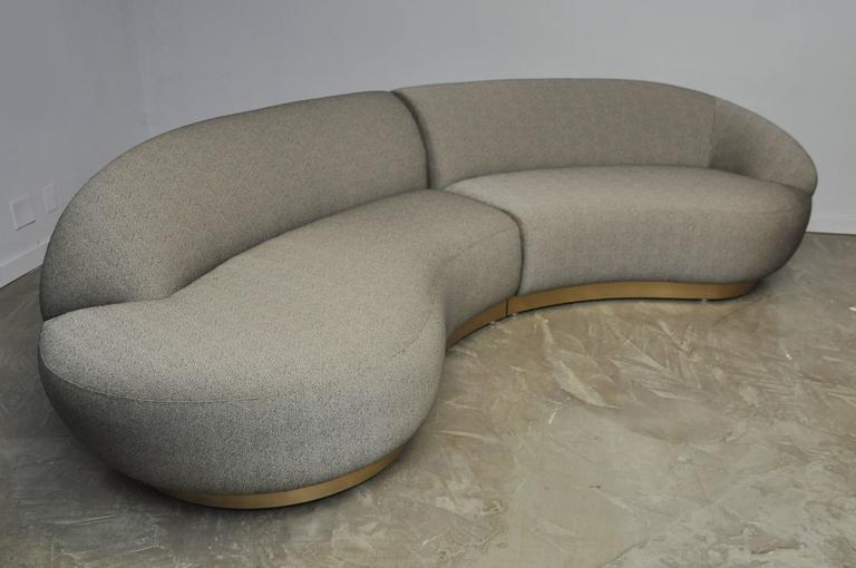 Milo Baughman Sectional Sofa on Brushed Bronze Base 3