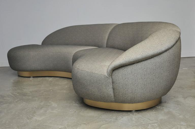 Milo Baughman Sectional Sofa on Brushed Bronze Base 4