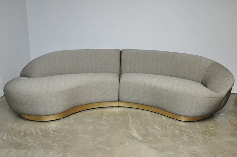 Milo Baughman Sectional Sofa on Brushed Bronze Base 5