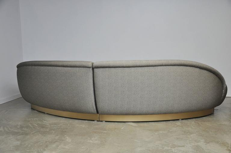 Milo Baughman Sectional Sofa on Brushed Bronze Base 6