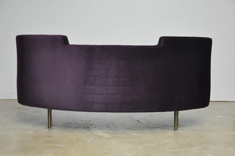Oasis sofa by Edward Wormley for Dunbar. New purple mohair over bronze finish legs.