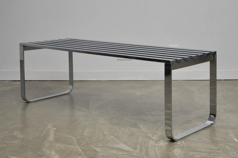 Chrome Slat Bench by Milo Baughman 3