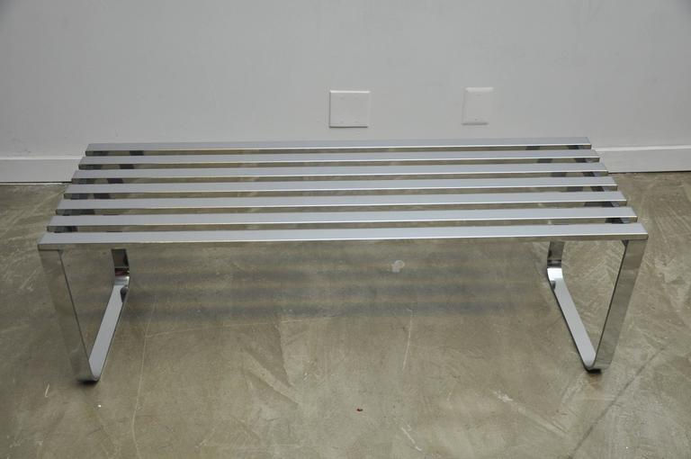 Chrome Slat Bench by Milo Baughman 6