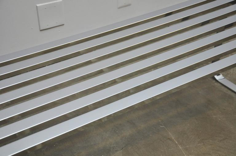 Chrome Slat Bench by Milo Baughman 5