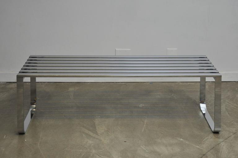 Chrome Slat Bench by Milo Baughman 2