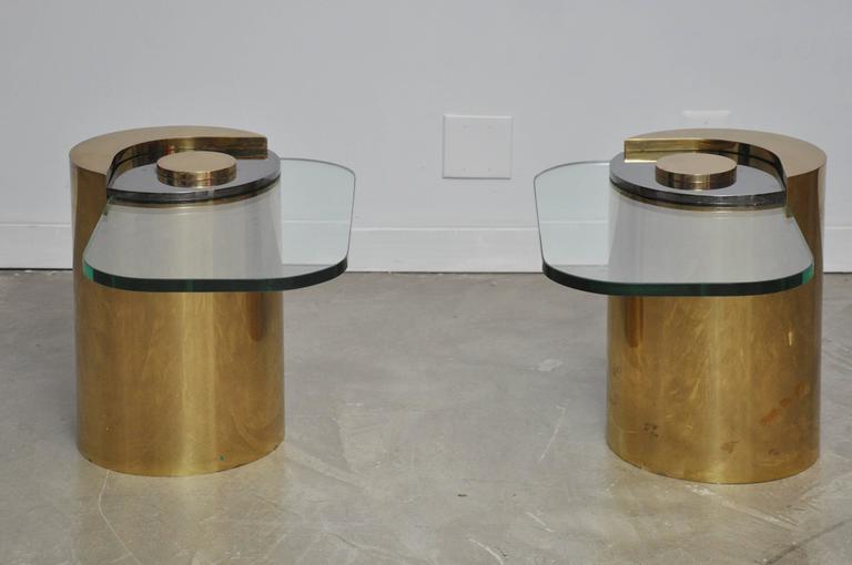 Karl Springer Brass Sculpture Leg Table Pair 3