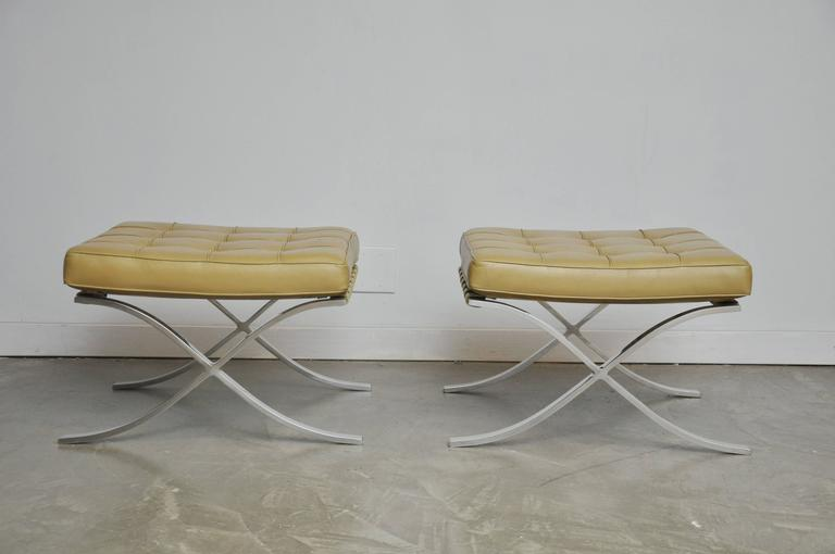 Mid-Century Modern Barcelona Stools by Mies Van Der Rohe For Sale