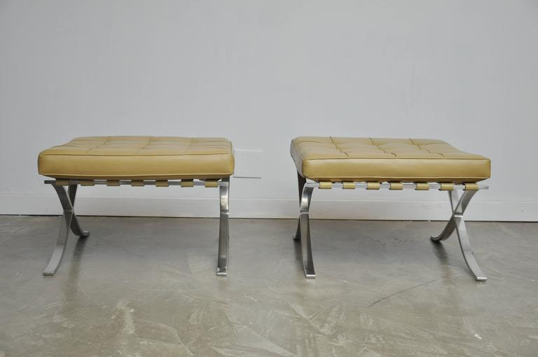 American Barcelona Stools by Mies Van Der Rohe For Sale