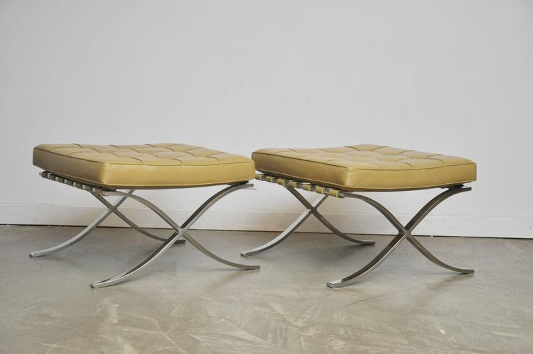 Pair of early ottomans by Mies Van Der Rohe for Knoll.