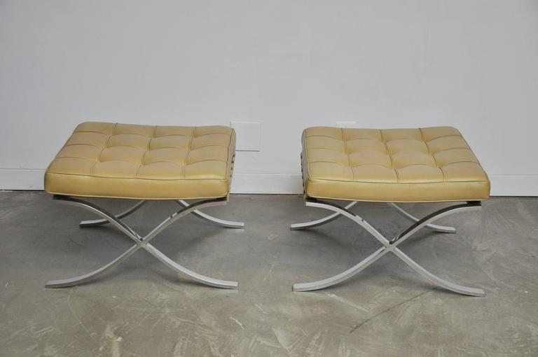Barcelona Stools by Mies Van Der Rohe In Excellent Condition For Sale In Chicago, IL