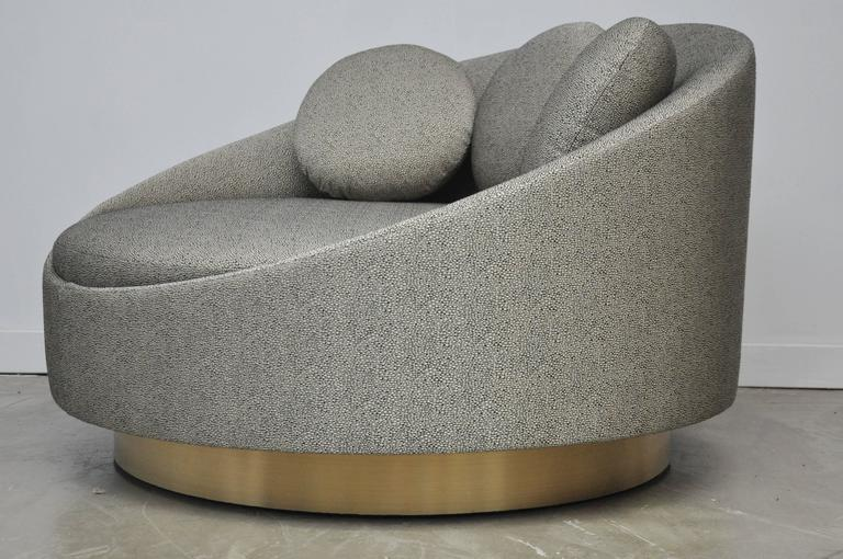 Oversized Cuddle Swivel Chair By Adrian Pearsall. Fully Restored. Brushed  Brass Base With New