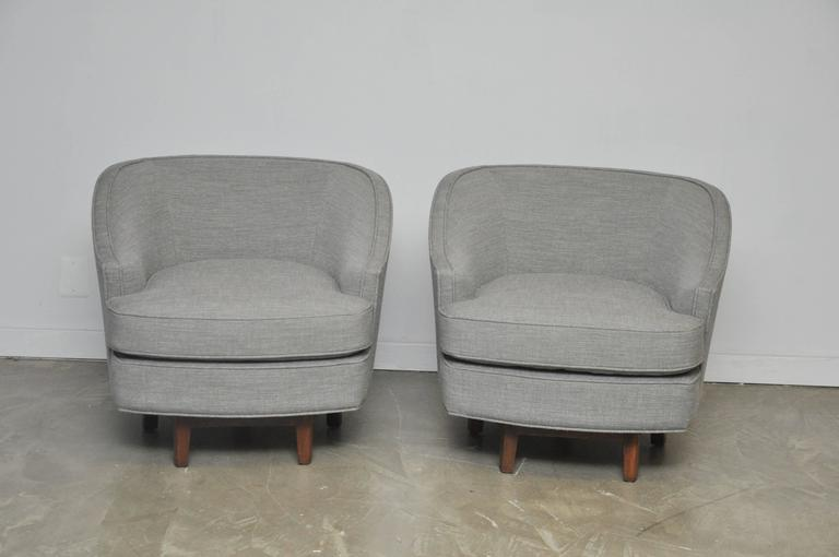 Pair Of Dunbar Swivel Chairs On Walnut Bases. Fully Restored And  Reupholstered In Grey Tweed