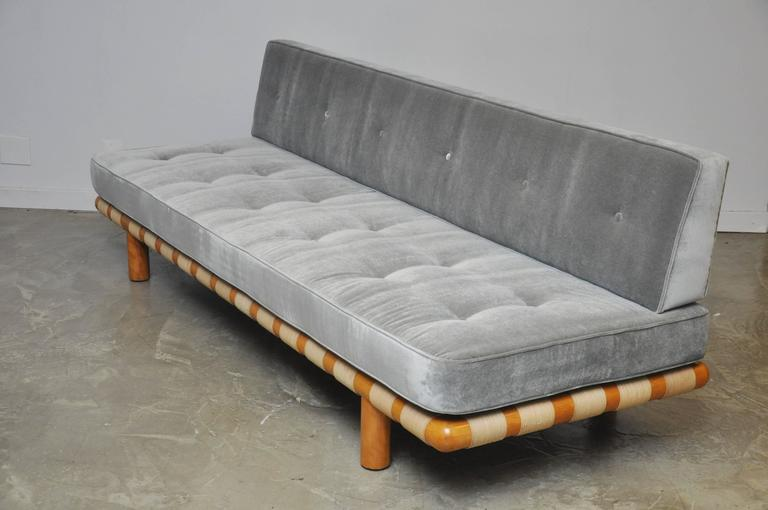 T.H. Robsjohn-Gibbings Strapped Frame Sofa Daybed In Excellent Condition In Chicago, IL