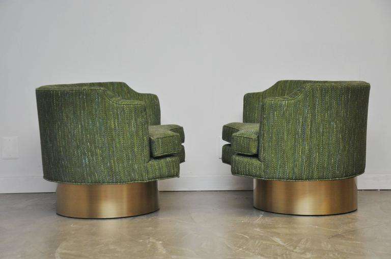 Harvey Probber Swivel Chairs on Brushed Brass Bases 3