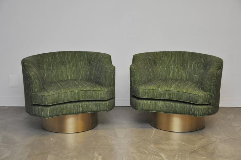 Harvey Probber Swivel Chairs on Brushed Brass Bases 2