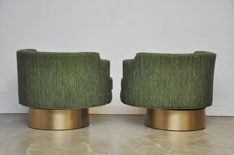 Harvey Probber Swivel Chairs on Brushed Brass Bases 4