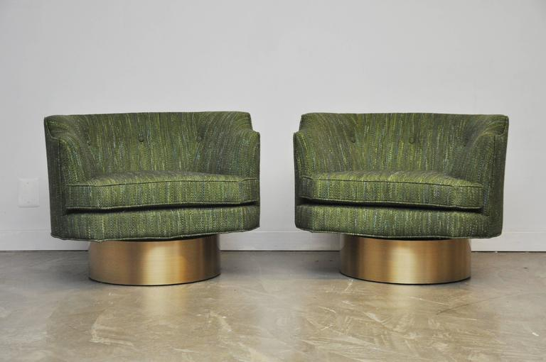 Harvey Probber Swivel Chairs on Brushed Brass Bases 5