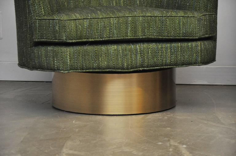 Harvey Probber Swivel Chairs on Brushed Brass Bases 7
