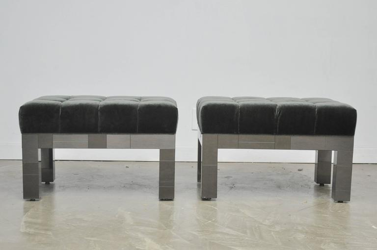 Set of four stools by Paul Evans from the Cityscape line. Rare gunmetal finish frames with new charcoal mohair cushions.
