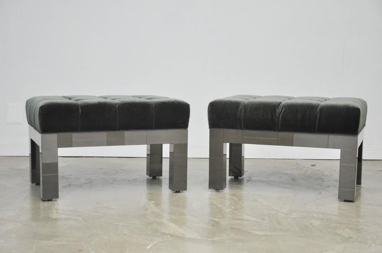 Mid-Century Modern Paul Evans Cityscape Stools in Gunmetal Patchwork with New Mohair For Sale