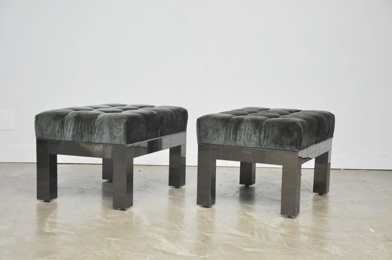 American Paul Evans Cityscape Stools in Gunmetal Patchwork with New Mohair For Sale