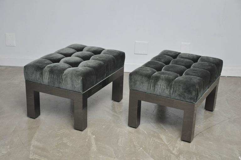 Paul Evans Cityscape Stools in Gunmetal Patchwork with New Mohair In Excellent Condition For Sale In Chicago, IL