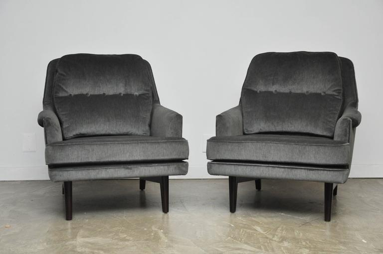 American Dunbar Lounge Chairs in Grey Velvet For Sale