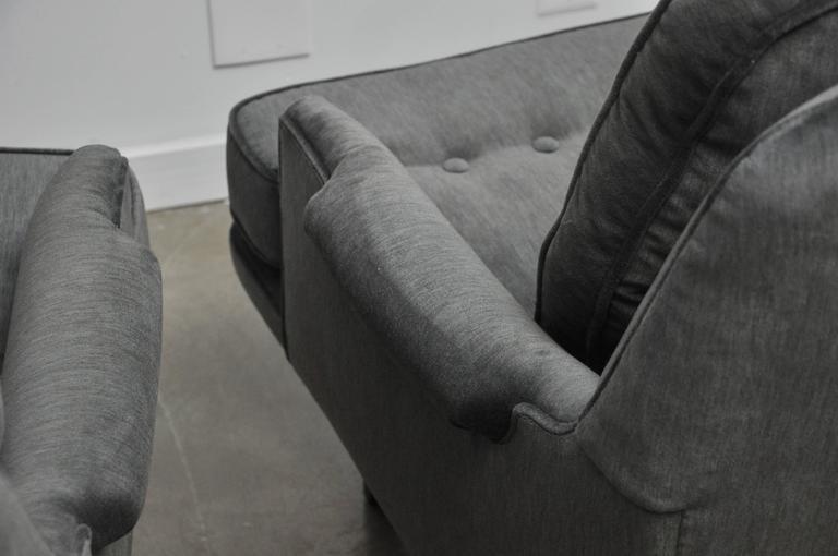 Mid-Century Modern Dunbar Lounge Chairs in Grey Velvet For Sale