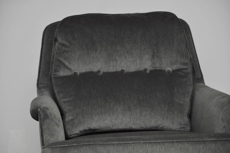 20th Century Dunbar Lounge Chairs in Grey Velvet For Sale