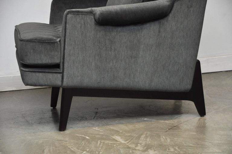 Dunbar Lounge Chairs in Grey Velvet For Sale 1