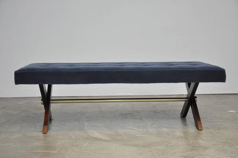 Mid-Century Modern T. H. Robsjohn-Gibbings X-Base Bench with Brass Stretcher For Sale