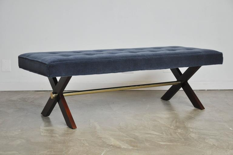 American T. H. Robsjohn-Gibbings X-Base Bench with Brass Stretcher For Sale