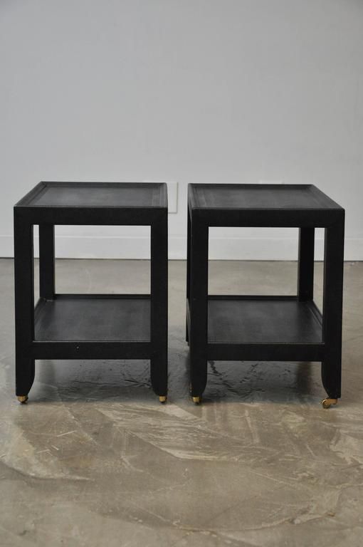 Large Lizard Skin Telephone Tables by Karl Springer In Good Condition For Sale In Chicago, IL