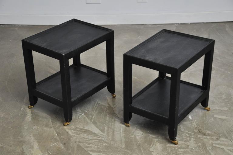 Large Lizard Skin Telephone Tables by Karl Springer For Sale 2