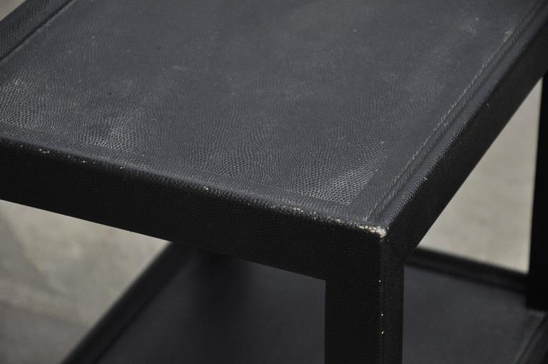 Leather Large Lizard Skin Telephone Tables by Karl Springer For Sale