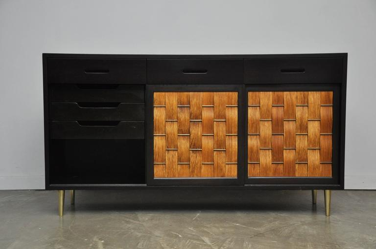 Brass Dunbar Rosewood Woven Front Sideboard by Edward Wormley For Sale