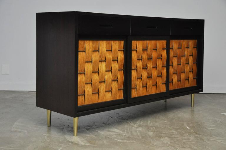 Dunbar Rosewood Woven Front Sideboard by Edward Wormley For Sale 2