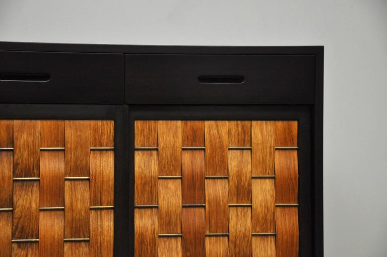 Dunbar Rosewood Woven Front Sideboard by Edward Wormley For Sale 3