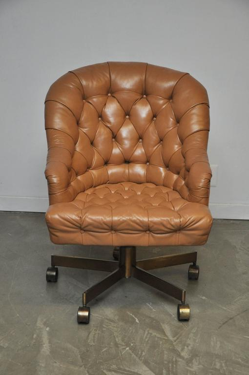 20th Century Dunbar Tufted Leather Desk Chair on Bronze Base by Edward Wormley For Sale