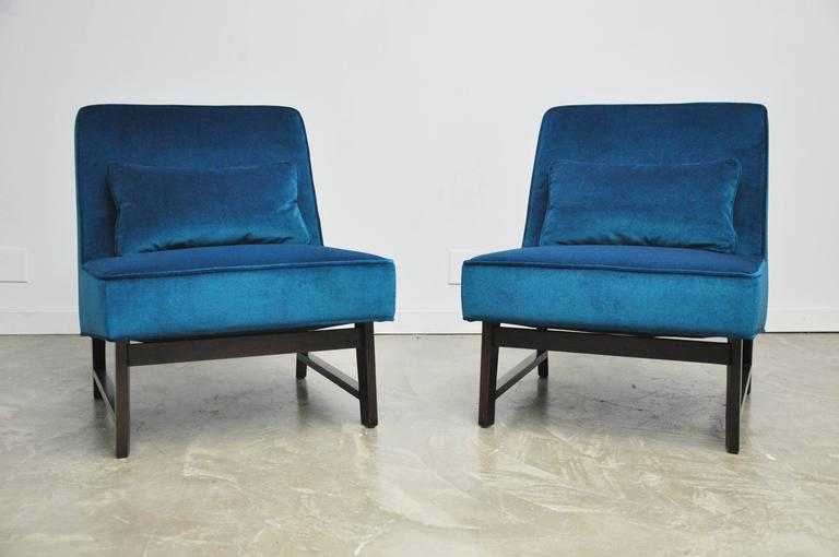 Velvet Dunbar Angular Slipper Chairs For Sale