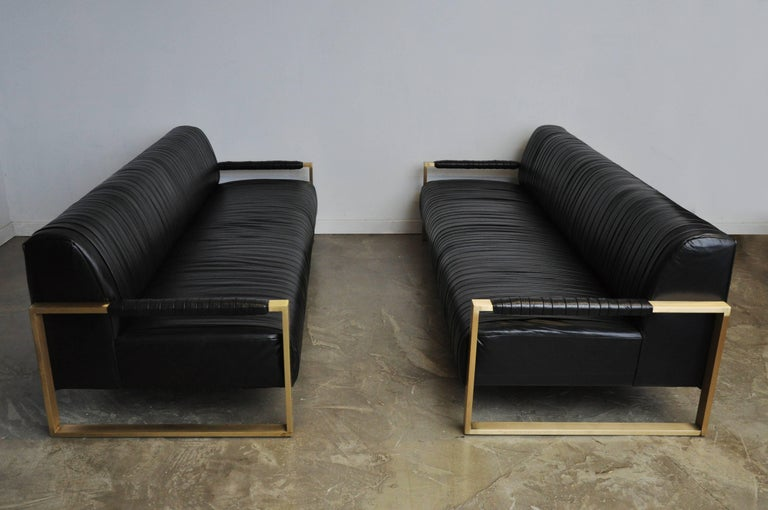Modern Drama Pleated Leather Sofa with Brushed Brass Frames 2