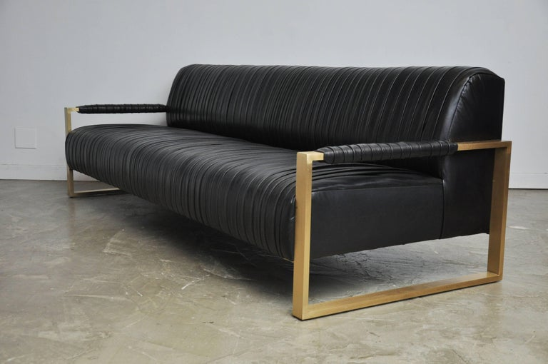 Modern Drama Pleated Leather Sofa with Brushed Brass Frames 5