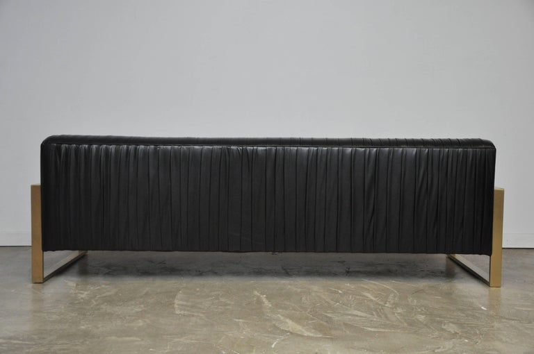 Modern Drama Pleated Leather Sofa with Brushed Brass Frames 6