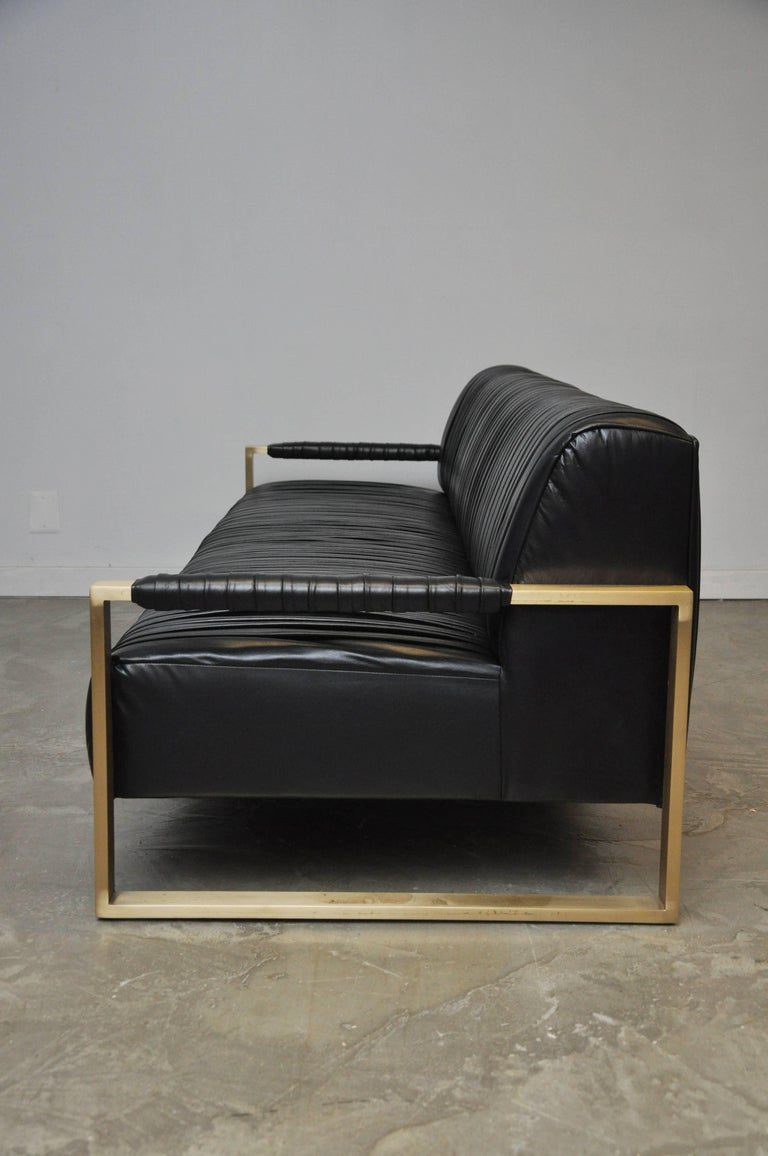 Modern Drama Pleated Leather Sofa with Brushed Brass Frames 8