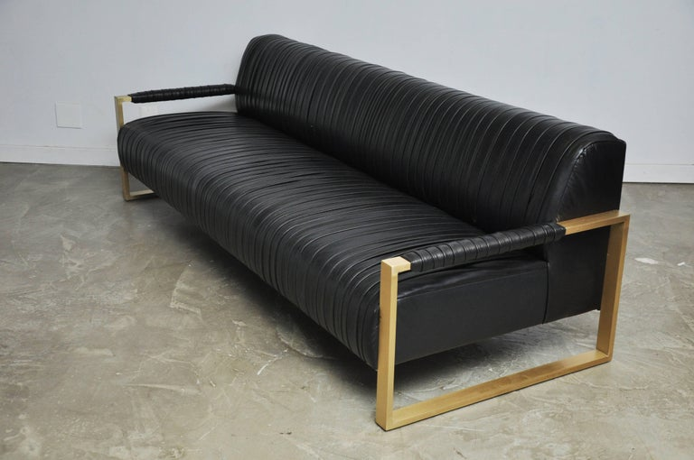 Modern Drama Pleated Leather Sofa with Brushed Brass Frames 9