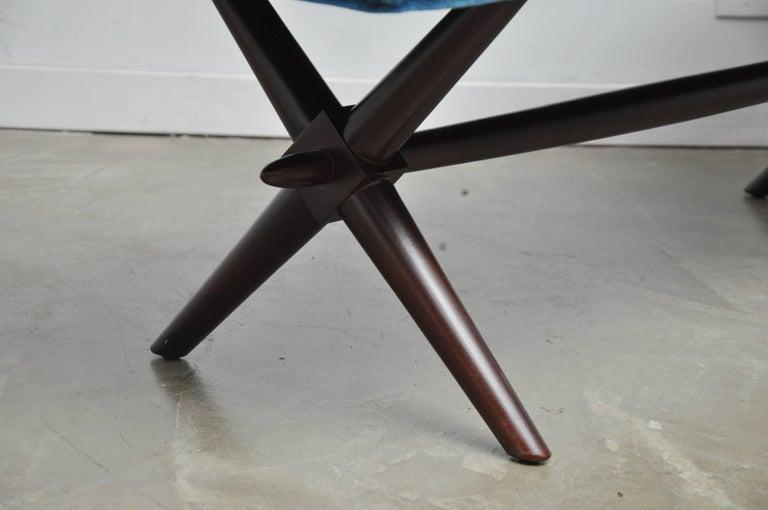 Mohair T.H. Robsjohn-Gibbings X-Base Bench For Sale