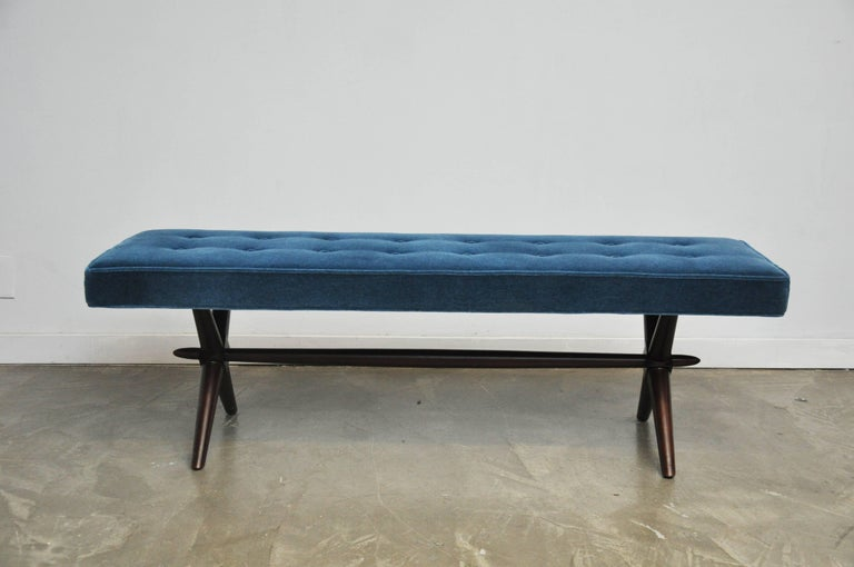 X-base bench by T.H. Robsjohn-Gibbings. Fully restored. Refinished and reupholstered in mohair.