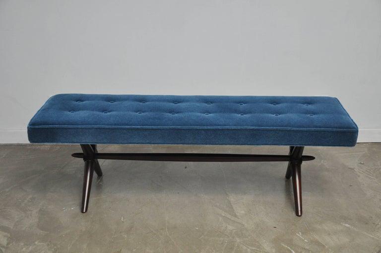 Mid-Century Modern T.H. Robsjohn-Gibbings X-Base Bench For Sale