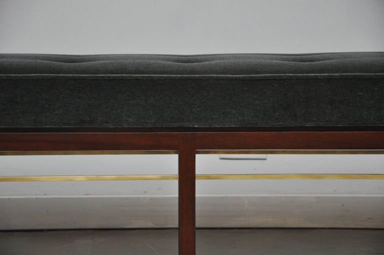 Mid-Century Modern Dunbar Bench by Edward Wormley in Gray Mohair with Brass Stretchers For Sale